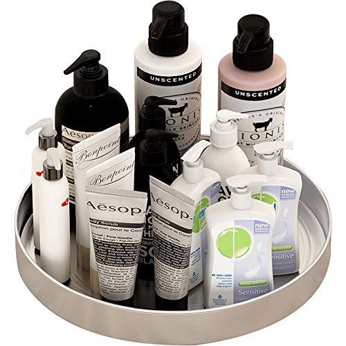 Especiero Giratorio de acero inoxidable Plato para Cosméticos, Cocina, Estante Organizador de maquillaje armarios, para guardar especias (19cm)