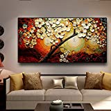 Yegnalo Lucky Life Flor árbol Paisaje Pared Arte Lienzo Carteles e Impresiones Sala de Estar Pared Moderna imágenes artísticas