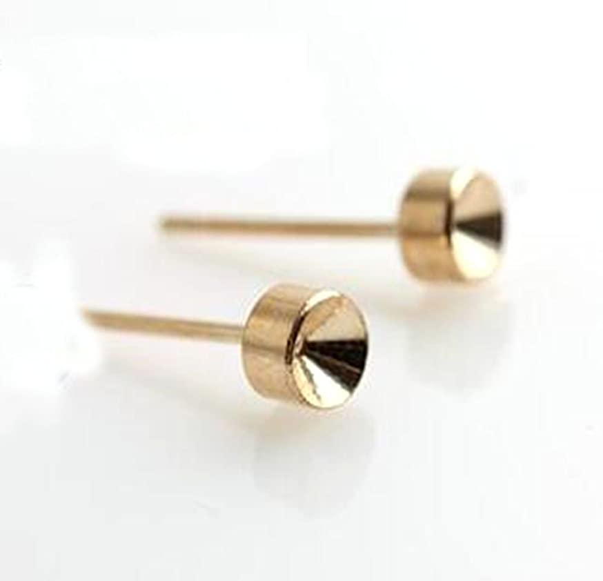 YOYOSTORE 100 Stainless Steel Club Earrings Pin Stud Findings DIY with Metal Back Post Pad Blank (Golden)