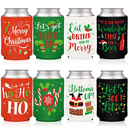 Christmas Favor Decorations Can Cooler Supplies Xmas Holiday Winter Can Sleeves Coolers Can Covers for Christmas Gathering Party Gift Ideas Neoprene Soda Beer Can Set of 4