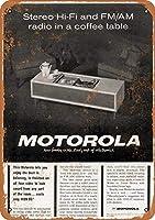 Motorola Stereo Hi-Fi Radio 注意看板メタル安全標識壁パネル注意マー表示パネル金属板のブリキ看板情報サイン