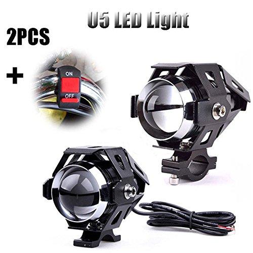 alftek 2 morceaux 125 W U5 Moto CREE Spot LED scheinwerfer Conduite Phare antibrouillard Ampoules + Interrupteur