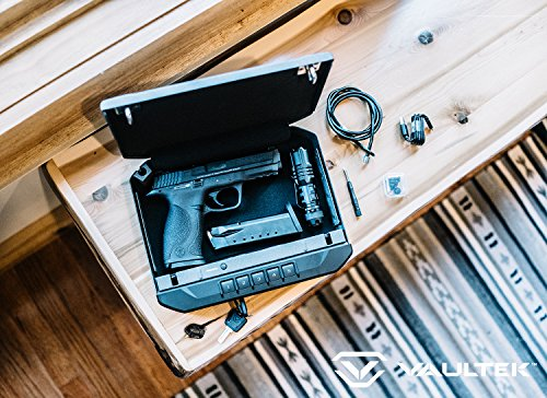 VAULTEK VR10 Bluetooth Smart Handgun Safe Quick Access Pistol Safe with Auto Open Lid and Rechargeable Lithium-ion Battery (Titanium Gray)
