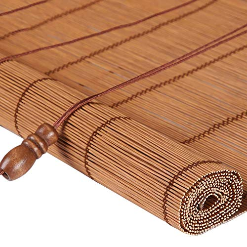 seveni Outdoor Light Filtering Roll Up Blinds, Bamboo Blacko