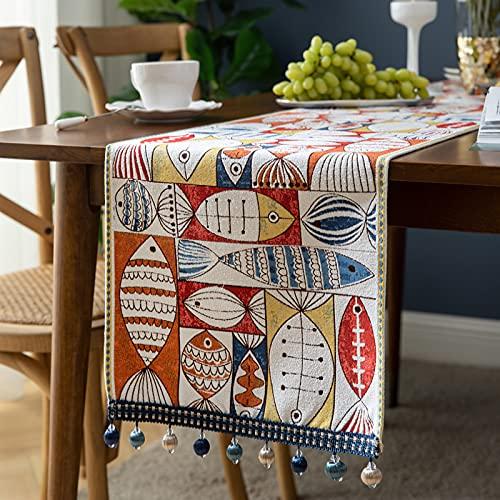 MRBJC Mantel rectangular para decoración de casas de campo, de poliéster, para mesas de comedor, cocina, exterior, interior, 33 x 220 cm