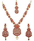 Touchstone Conjunto de collar de joyería nupcial de diseñador de rhines rojo inspirado en flores de bollywood indio para mujer Rojo