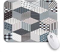 ROSECNY 可愛いマウスパッド パッチからのパターンキューブとスターノートブックコンピュータ用の灰色の滑り止めゴムバッキングマウスパッドのパッチワークマウスマット