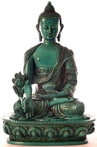 BUDDHAFIGUREN/Billy Held Medizinbuddha Buddha Statue, Resin, Türkis 20 cm