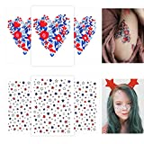 Small Temporary Tattoos Set 6 Sheets Kids Fake Face Stickers Star Flower Art Tattoos Kit Girls Women Boys Adult Teens Toddlers Patriotic Freckle Christmas Birthday Party Favor Supplies Gift