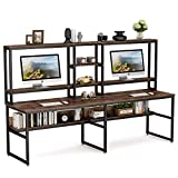 Tribesigns 94.5 inch Two Person Desk with Hutch, Double Workstation Computer Desk with Storage Shelves, Large Industrial Office Desk Study Writing Table with Bookshelf for Home Office, Rustic Brown
