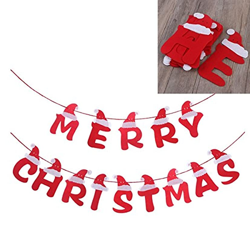 LUOEM Merry Christmas Fabric Banners Wall Hanging Decoration with Santa Hat Design Christmas Party Favors