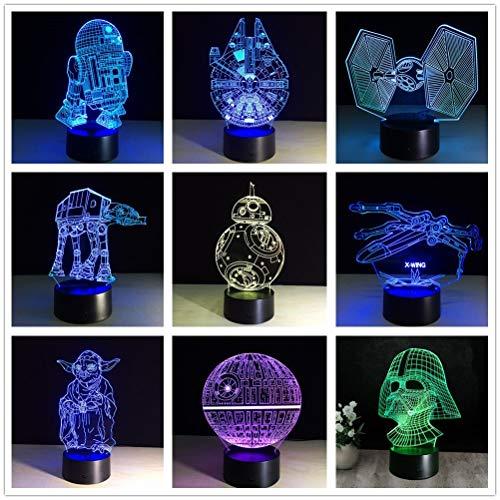 (Nur 1) neue 3D Star Wars Abbildung 7 Farb-LED-Nachtlampen für Kinder Touch-LED-USB-Tisch Lampara Lampe Baby Sleeping Nightlight Drop Ship