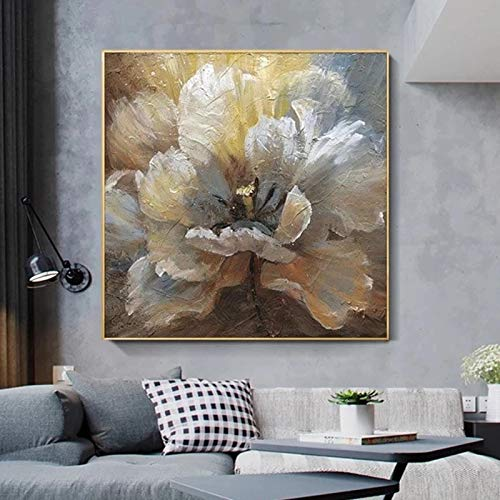 Cuadro en lienzo Abstracto Mariposa azul y flores Carteles e impresiones Cuadros Cuadros de arte de pared para sala de estar Decoración del hogar-70x70cm Sin marco