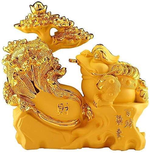 Símbolo riqueza Estatua Decoración Artesanía Regalo Resina dorada Decoración la suerte Feng Shui Estatua decoración Estatuilla Oficina en casa Colección mesas Adornos Feng Shui Figura la suerte 1128