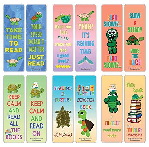 Creanoso - Confezione da 12 segnalibri a forma di tartaruga per bambini, set regalo premium, segnalibri fantastici per ragazzi, ragazze e adolescenti, 6 segnalibri assortiti