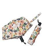 Paraguas Regalos De Mujer Paraguas Floridos A Prueba De Viento Tríptico Manual Abrir Y Cerrar Parasol UV Paraguas Mujer Lluvia Paraguas A