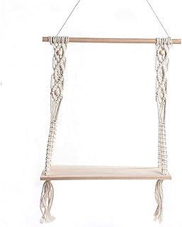 Hotaden Wall Hanging Shelf rustiche in Legno Mensole sospese Casale con Corda Wall Hanging Mensola con Corda Tapestry Macr...