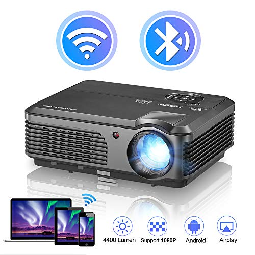 WiFi Projector Full HD 1080P Supported 4400 Lux, LED Projector for Home Theater Outdoor Movie Projector, Built-in Speakers, Compatible with HDMI, USB, Smartphone, Laptop, DVD Player, TV Stick