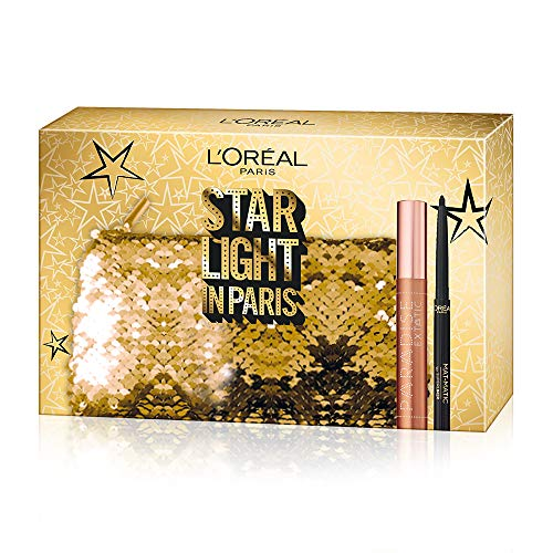 L'Oréal Paris Cofanetto Idea Regalo, Mascara Volumizzante Paradise e Eyeliner Nero Super Mat-Matic, Pochette 2 Pezzi Star Light in Paris