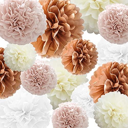SZHUIHER Carta velina Pompon Fiore 22 Pezzi Rosa Antico, Oro Rosa, Avorio, Bianco Fiore Palla di Carta per Compleanno Addio al Nubilato Matrimonio Baby Shower Addio al Nubilato Decorazione per Feste