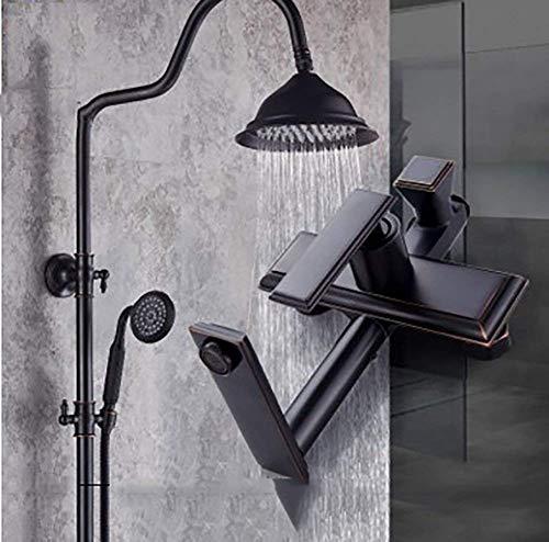Dusche/Duschset Dusche Set Regenbogen Badewanne Antique European Brass Schwarz Retro-Dusche-Hahn Einhebel-Badewannen-Mischer-Wasserfall-Dusche-Hahn (Farbe: Schwarz, Größe: B)