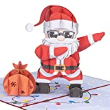 Paper Love Dancing Santa Pop Up Christmas Card, Handmade 3D Popup Greeting Cards for Christmas, Holiday, Xmas Gift   5' x 7'