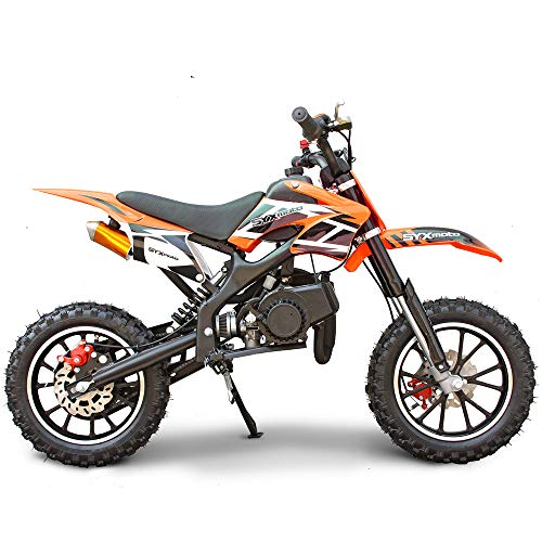 SYX MOTO Kids Dirt Bike Holeshot 50cc Gas Power Mini Dirt Bike 23inches Seat Height Dirt Off Road Motorcycle, Pit Bike Fully Automatic Transmission (Orange, Year 2021)