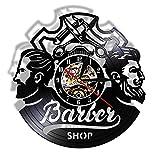 Enofvd Peluquería Logo peluquería decoración Mudo Disco de Vinilo Reloj de Pared Accesorios para el Cabello peluquería decoración Reloj de Pared 12 Pulgadas