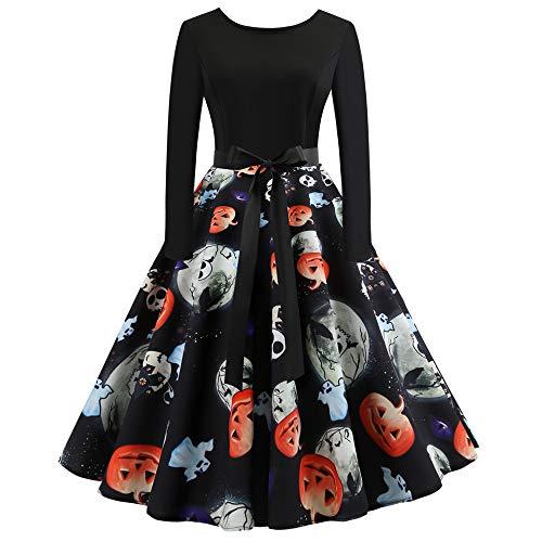 Sumeiwilly Elegant Damen Halloween Kleider Retro Vintage 50er Jahr Sewing Rockabilly Kleid Cocktailkleid Drucken Lange Ärmel Abendkleid Ballkleid