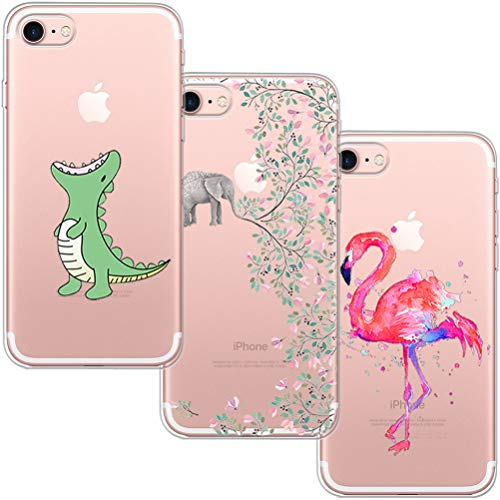 [3 Pack] Funda iPhone 7, Funda iPhone 8, Blossom01 Funda Ultra Suave Silicona TPU Funda de Silicona con Dibujos Animados Para iPhone 7 / 8 - Cocodrilo & Elefante Flores & Flamingo