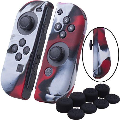 YoRHa Handgriff Silikon Hülle Abdeckungs Haut Kasten für Nintendo Switch/NS/NX Joy-Con controller x 2(Tarnung rot) Mit Joy-Con aufsätze thumb grips x 8