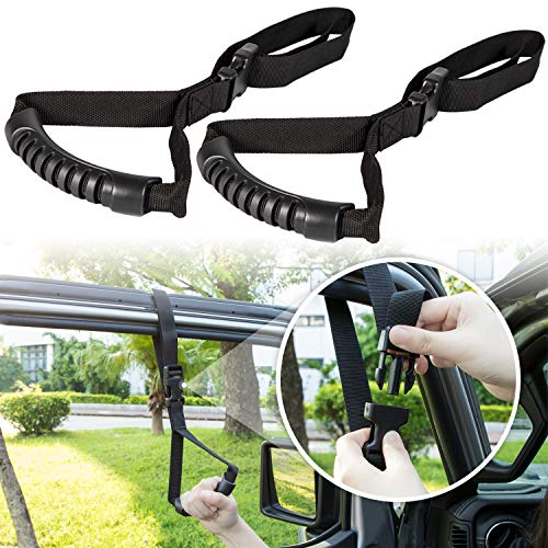 Auto Cane Car Grab Handle Adjustable Standing Aid Safety Handle Vehicle Support Portable Nylon Grip Handle Car Assist Device Black (2 Pack)
