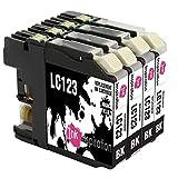 INK INSPIRATION® Ersatz für Brother LC123 LC-123BK Schwarz Druckerpatronen kompatibel mit Brother DCP-J132W MFC-J6920DW DCP-J4110DW DCP-J552DW MFC-J4610DW MFC-J6520DW MFC-J870DW MFC-J6720DW DCP-J152W