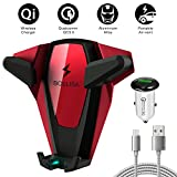 Wireless Car Charger, BOSLISA X-Man Wireless Fast Charger Car Mount, Air Vent Phone Holder, Compatible iPhone Xs MAX/XR/XS/X/8/8 Plus Samsung Galaxy S9/8/7/Note 8/9 and All Qi-Enabled Phones(Red)