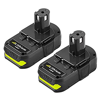 SUN POWER 2500mAh for Ryobi 18v One Plus Lithium Ion Battery P102 P103 P105 P107 P108 P109 Compact ONE+ Cordless Tool (2-Pack)