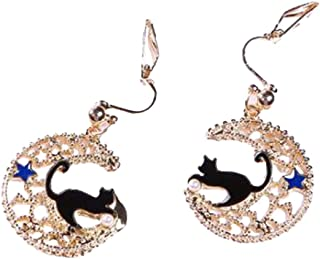 Black Cat Moon and Blue Star Clip on Earrings Gold Plated Crescent Dangle Prom Jewelry for Girls Women