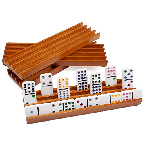 Set of Four Plastic Domino Trays – Premium Holder Racks for Domino Tiles, Great for Mexican Train, Mahjong, Chickenfoot, & Domino Games by Brybelly