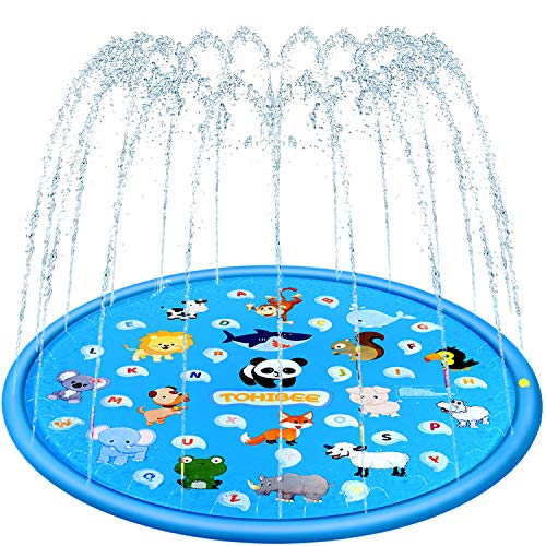 TOHIBEE Splash Pad for Kids, Upgraded 68 Summer Outdoor Water Toys Sprinkler for Kids Splash Pad Play Mat & Wading Pool for Fun Games Learning Party 1-12 Years Old Boys Girls
