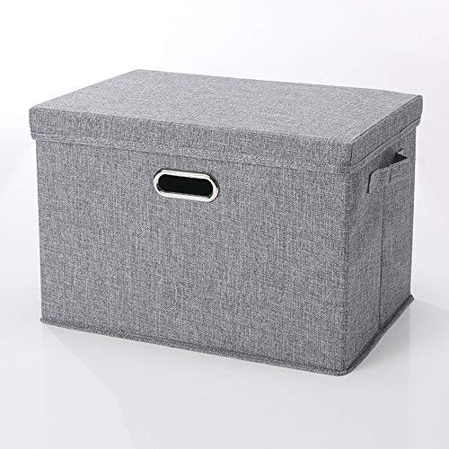 YUANP 2er Pack Aufbewahrungsbox Mit Deckel Faltbare Aufbewahrungskörbe Aus Leinen Für Handtücher Bücher Spielzeug Kleidung Usw,D-58 * 40 * 35cm