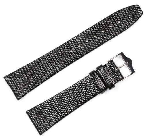 Replacement Leather Watch Band - Lizard Flat Black 19mm