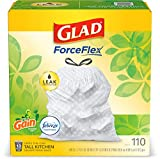Glad ForceFlex Tall Kitchen Drawstring Trash Bags  13 Gallon White Trash Bag, Gain Original scent with Febreze Freshness  110 Count (Package May Vary) (Pack of 3)