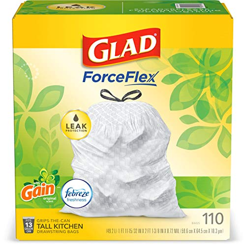 Glad ForceFlex Tall Kitchen Drawstring Trash Bags, 13 Gal, 110 Ct (Package May Vary)