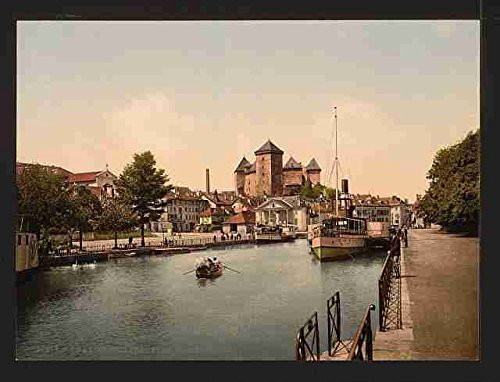 Haven en kasteel fort Annecy A3 Doos Canvas Print