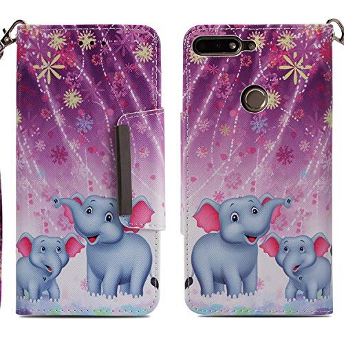 Huawei Honr 7C Flip Hülle,Gemalt Muster Brieftasche Hand Strap Case Tasche Magnet Handytasche [Kartensteckplatz] PU Leder Cover mit Ständer für Huawei Honor 7C/Y7 Prime 2018 5.99