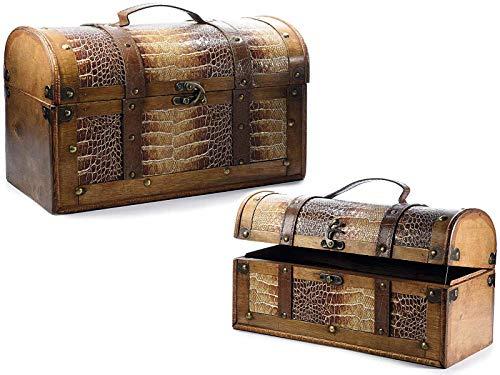 Baúl portaobjetos de madera con inserciones de piel para escaparates y tiendas organizadores para el hogar