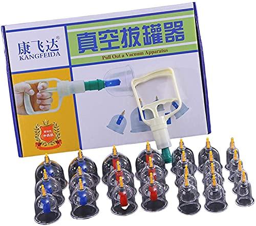 LIANGJUANG ventosas fisioterapia ventosas celulitis ventosas para masaje Juegos de terapia de ventosas, 24 tazas, juego de terapia de ventosas de acupuntura chino profesional, juego de ventosas con bo