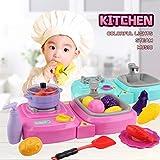 GODNECE Kinderherd Elektrisch, 30 Teilie Kinderküche Elektrisch Kochplatten Kinderküche Kochplatten Spielzeug Mit Licht und Ton