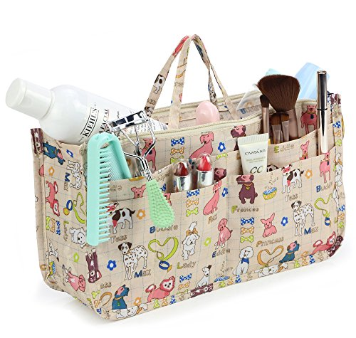 Cosmetic Bag for Women Cute Printing 14 Pockets Expandable Makeup Organizer Purse with Handles (Dog)