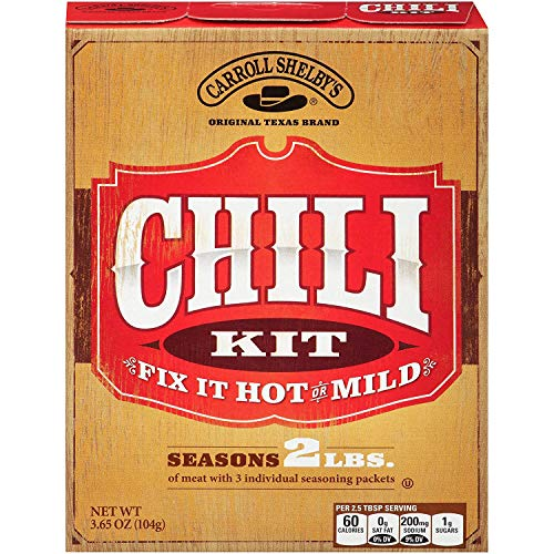 Carroll Shelby's Original Texas Chili Mix Kit, 3.65 Ounce Box, 8 count