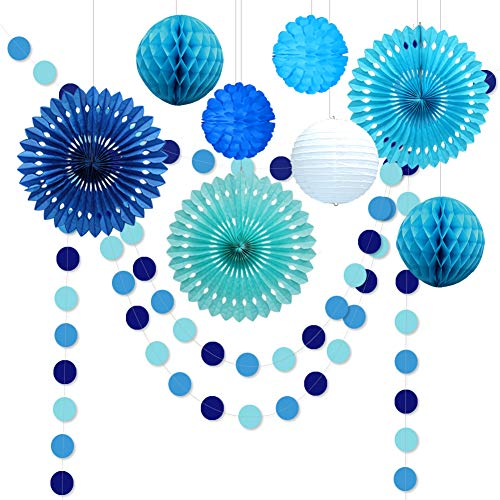 Decor365 10pcs Under The Sea Theme Blue Party Decorations Kit Boy Birthday Circle Banner Garlands Bunting Paper Fan Flower Pom Poms Decoration/Event Celebration Hanging Decor for Baby Shower/Wedding